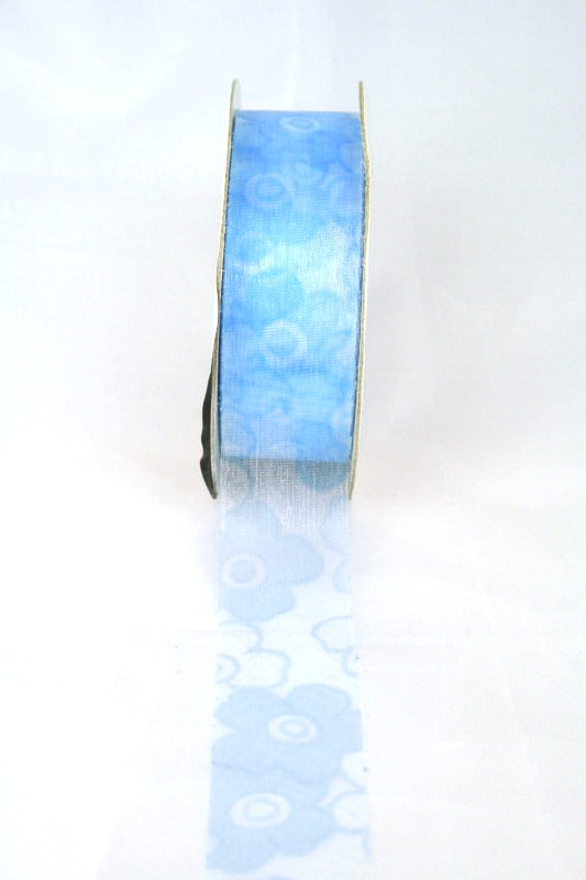 Organzaband mit Blüten, 25 mm breit, hellbau - sonderangebot, organzabander, gemustert, everyday, 70-rabatt