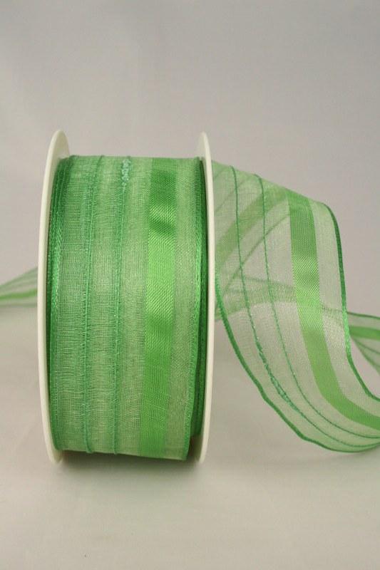 Organzaband mit Streifen, 40 mm breit, grün - uni, sonderangebot, organzabander, everyday, 50-rabatt