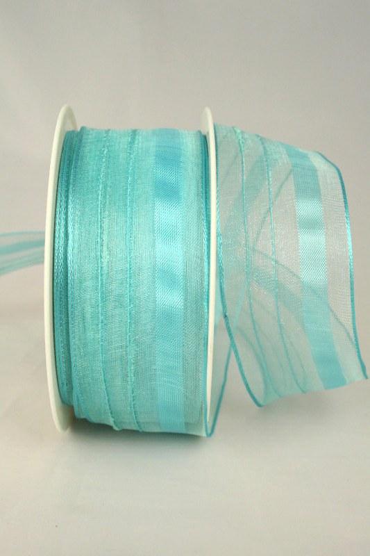 Organzaband mit Streifen, 40 mm breit, hellbau - uni, sonderangebot, organzabander, everyday, 50-rabatt