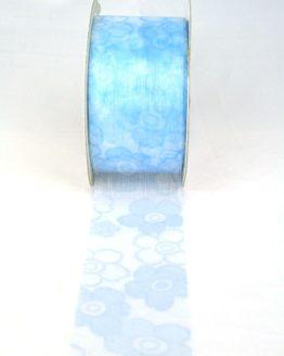 Organzaband mit Blüten, 40 mm breit, hellblau - sonderangebot, organzabander, gemustert, everyday, 70-rabatt