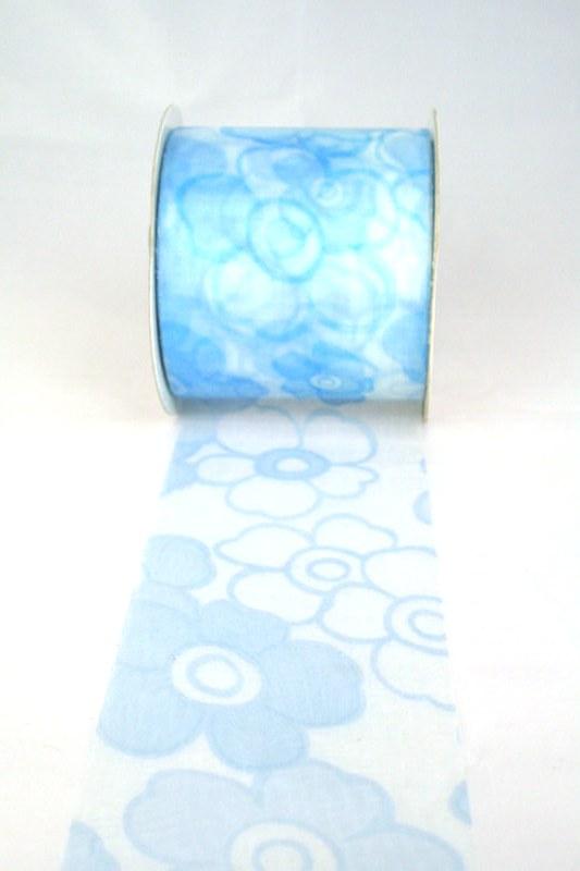 Organzaband mit Blüten, 70 mm breit, hellblau - sonderangebot, organzabander, gemustert, everyday, 70-rabatt