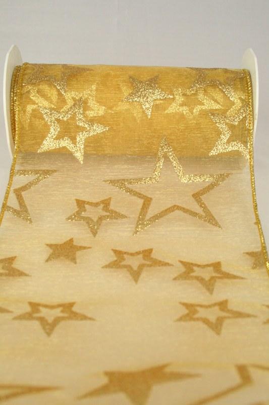 Organzaband-Tischband mit Sternen, gold, 150 mm - weihnachten, organzabander