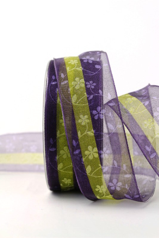 Organzaband lila/grün mit Blüten, 40 mm - sonderangebot, organzabander, gemustert, everyday, 30-rabatt