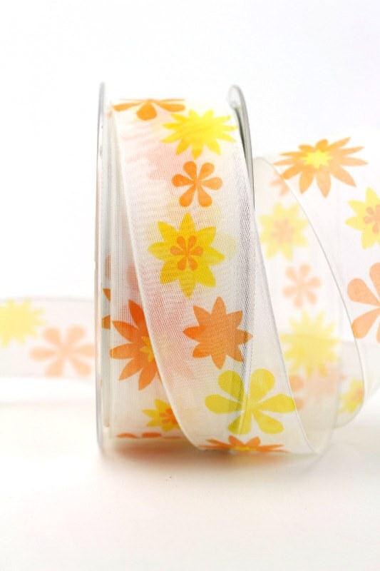 Organzaband gelb-orange mit Blüten, 40 mm - sonderangebot, organzabander, gemustert, everyday, 20-rabatt