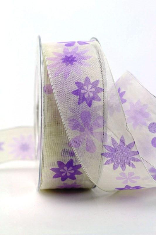 Organzaband lila mit Blüten, 40 mm - sonderangebot, organzabander, gemustert, everyday, 20-rabatt