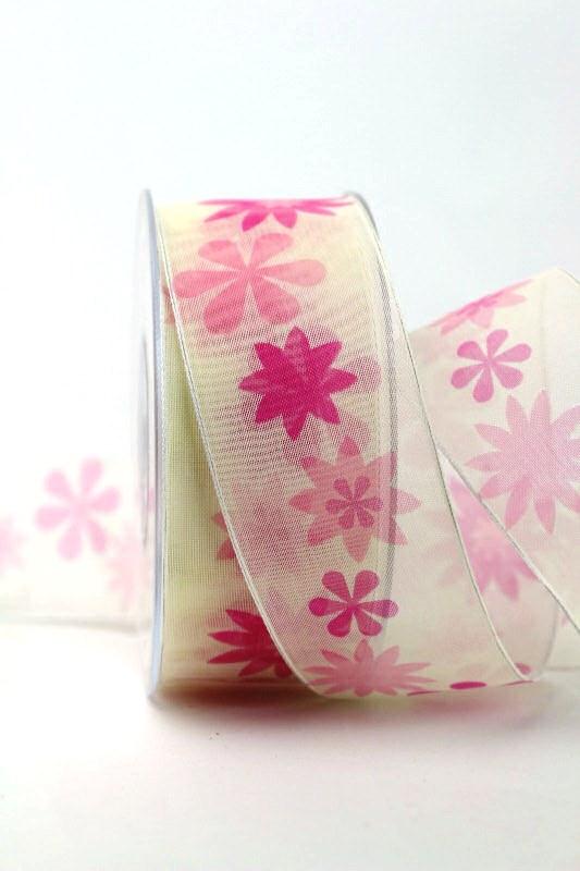 Organzaband pink mit Blüten, 40 mm - sonderangebot, organzabander, gemustert, everyday, 20-rabatt