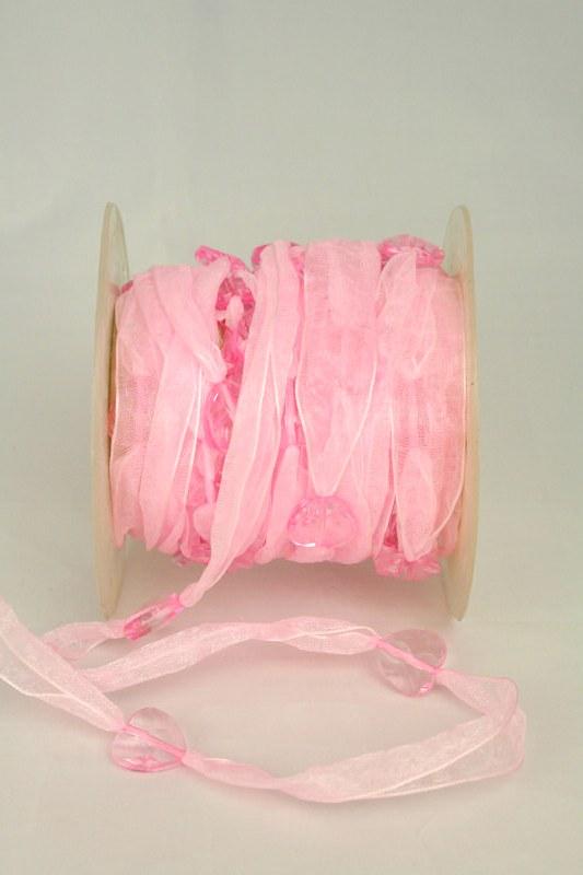 Organzaband mit Herzen, rosa, 18 mm - sonderangebot, organzabander, 50-rabatt