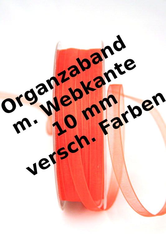 Organzaband mit Webkante, 10 mm, 50 m Rolle - uni, organzabander