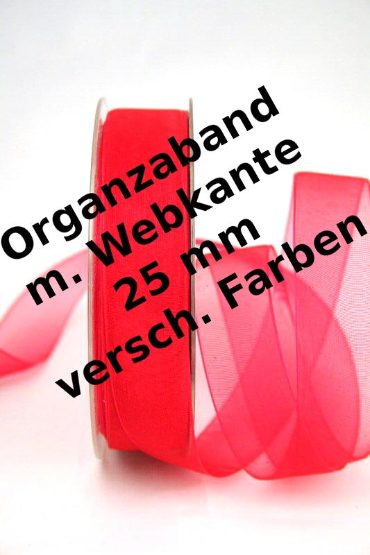 Organzaband mit Webkante, 25 mm, 50 m Rolle - uni, organzabander
