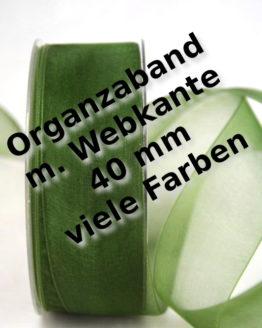 Organzaband mit Webkante, 40 mm, 50 m Rolle - uni, organzabander