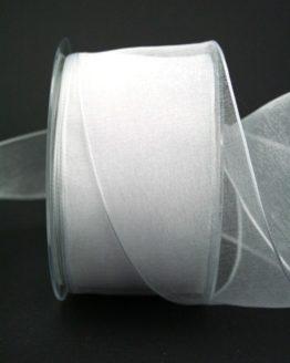 Organzaband weiß, 60 mm, mit Drahtkante - uni, organzabander, organzaband-mit-drahtkante